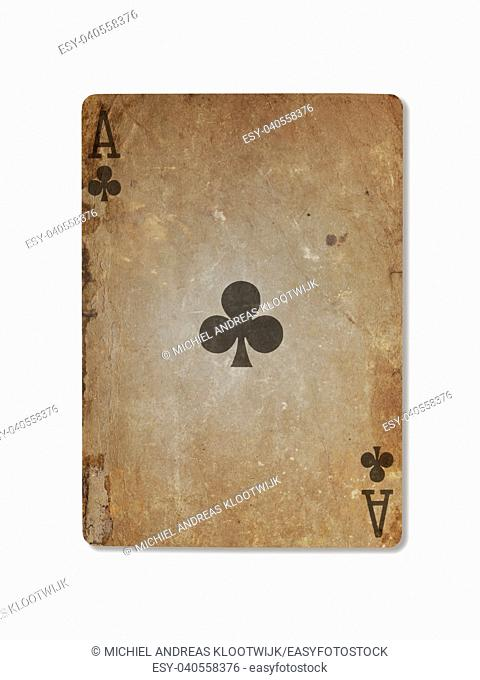 Very old playing card isolated on a white background, ace of clubs