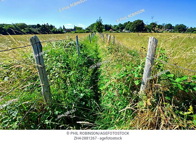 Boughton Monchelsea village, Kent, England. Fenced footpath through a field