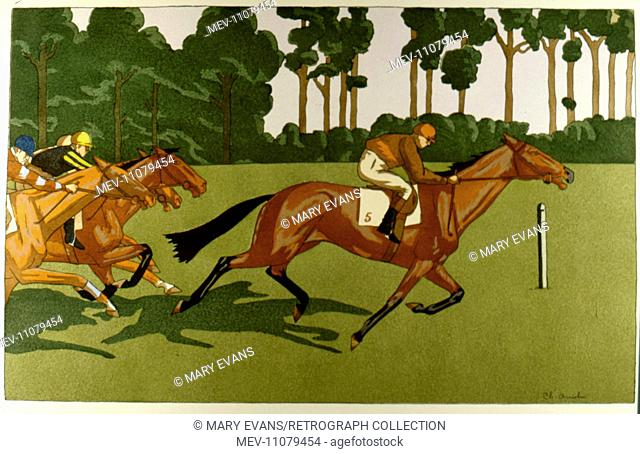 Illustration, horseracing, by Charles Ancelin