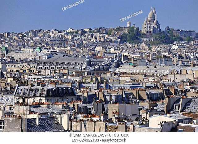 Paris cityscape with Montmartre hill and the Sacre-Coeur from the Eiffel Tower, Paris, France, Europe