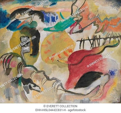 Improvisation 27 (Garden of Love II), by Vasily Kandinsky, 1912, Russian German Expressionist. This painting contains 3 very abstract depictions of an embracing...