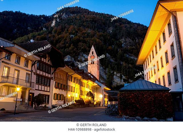 Interlaken city in the canton of Berne by night