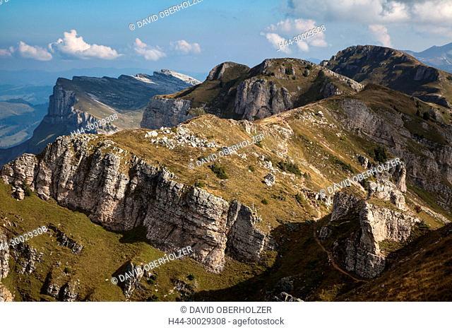 The Alps, mountains, the Bernese Oberland, cameo alphorn, autumn, sceneries, Niederhorn, Switzerland