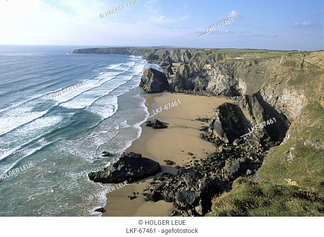 Bedruthan Steps Coastline, Near Newquay, Cornwall, England