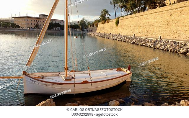 Sailing boat in front of the cathedral of Palma de Majorca, Balearic islands, Spain, Europe