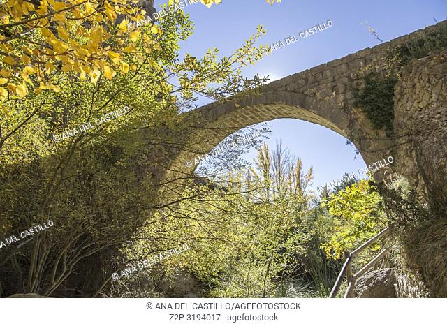 Autumn in Olba Gudar mountains Teruel Aragon Spain The old acueduct