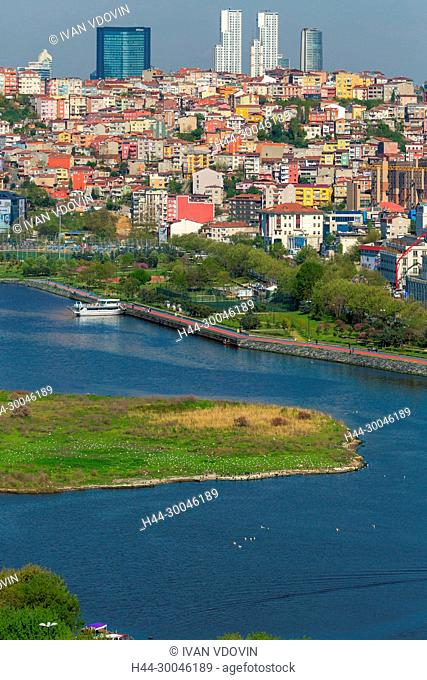 View of Golden Horn from Pierre Loti Cafe, Eyup, Istanbul, Turkey