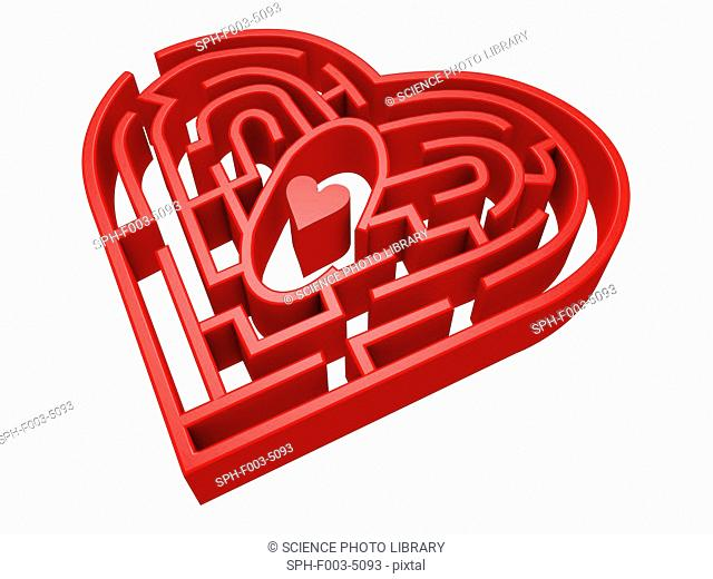 Computer artwork of the human heart conceptualized as a maze