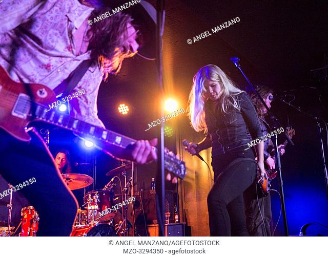 Madrid, Spain- April 25: Matte Gustafsson and Lisa Lystam from Heavy Feather rock band performs in concert at Sala Clamores on april 25,2019 in Madrid