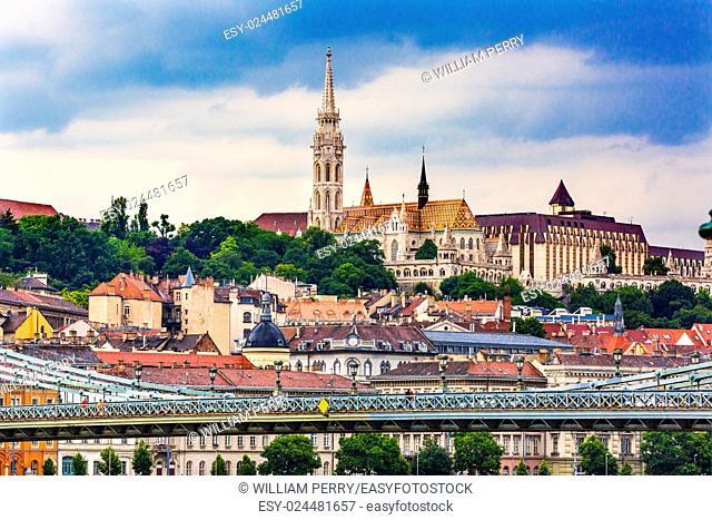 Chain Bridge Lion Matthias Church Fisherman's Bastion Budapest Hungary