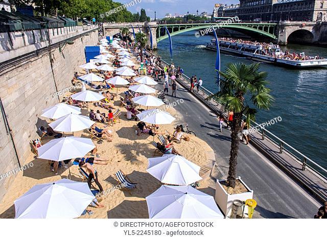 Paris, France, Tourists enjoying Summer Public Events, Paris Plage, Urban Beach, on Seine River