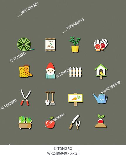 Icon set of various objects related to gardening