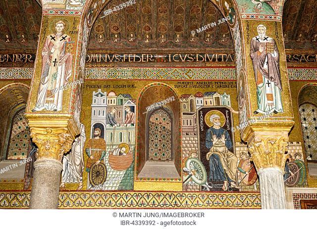 Byzantine mosaic, right aisle, Cappella Palatina, Palatine Chapel of the Palace of the Normans or Royal Palace of Palermo, Palermo, Sicily, Italy