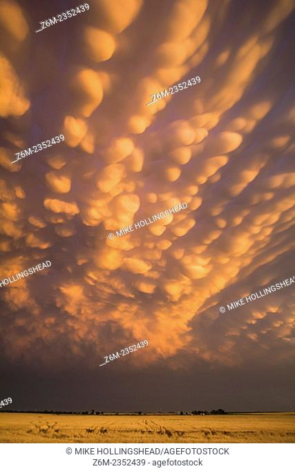 Intense mammatus clouds form over northern Oklahoma