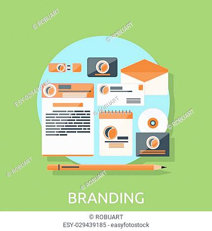 Brand design branding concept flat. Brand identity, business branding company, interface creative, corporate creativity, cover for brochure vector illustration