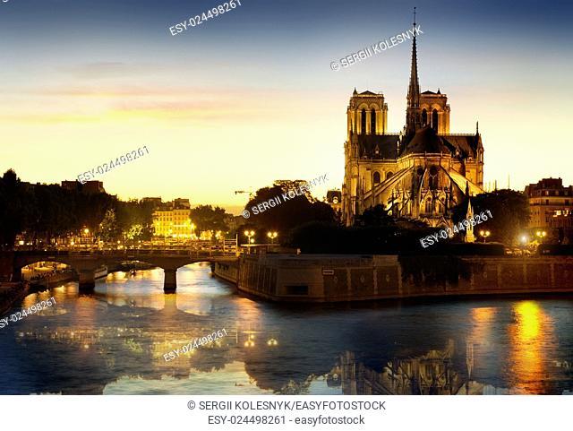 Notre Dame de Paris Cathedral at night