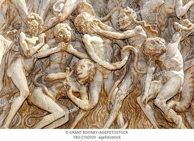 Bas Relief (The Last judgement ) On The Facade of The Duomo, Orvieto, Italy