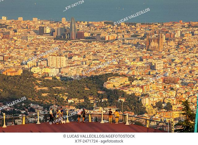 View of Barcelona from Tibidabo mountain,Barcelona,Catalonia,Spain