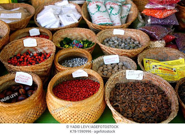 Spices at the market, Parati, Rio de Janeiro State, Brazil