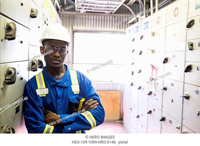 Portrait of confident male worker in gas plant