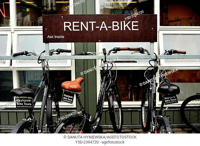 renting bicycle is easy and popular in Reykjavik, Iceland