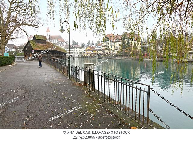 Thun, Switzerland - December 6, 2015: view in the old town. Thun is a medieval city in the administrative district of Thun in the canton of Bern