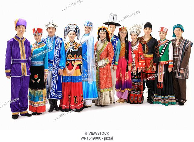 Chinese people wearing traditional costumes