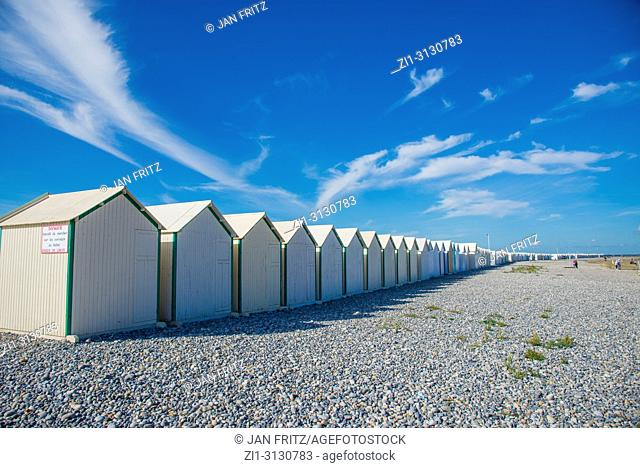 wooden cabins at Cayeux sur Mer in Normandy, France