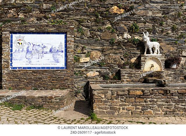 Azulejos and Fountain at Aveleda Village, Montesinho Natural Park, Braganca District, Norte Region, Portugal, Europe