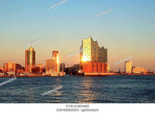 Sunset view of Elbe Philharmonic Hall in Port of Hamburg, Germany