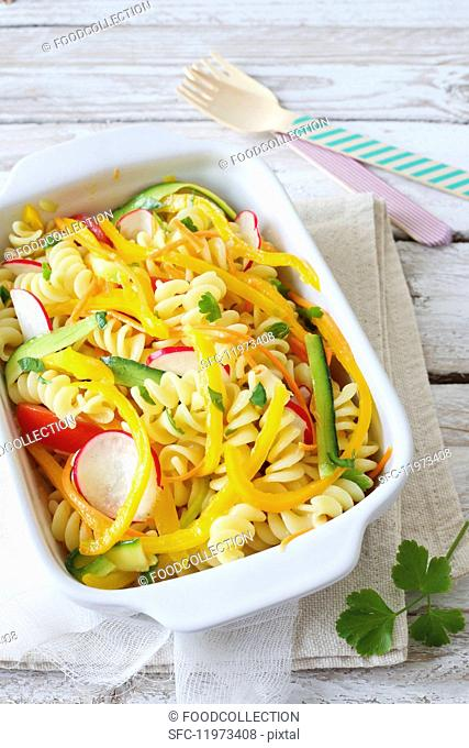Fusilli with colourful vegetables