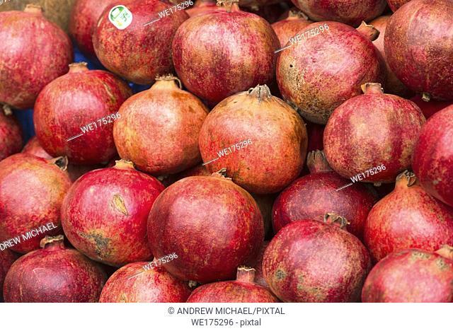 Closeup of Pomegranates on sale at Campo de Flori market in Rome, Italy
