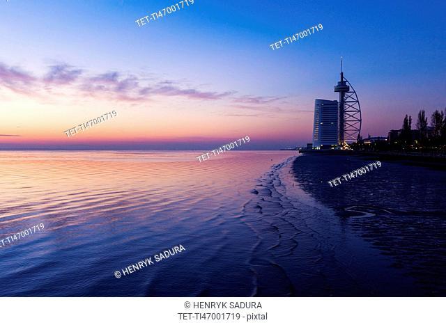 Portugal, Lisbon, Tower Vasco da Gama by Tagus River in Lisbon