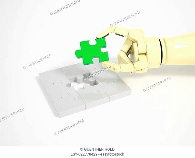 Robot completes jigsaw puzzle game