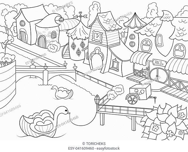 Children coloring raster fairy city with riverZentangle style. Black and white line