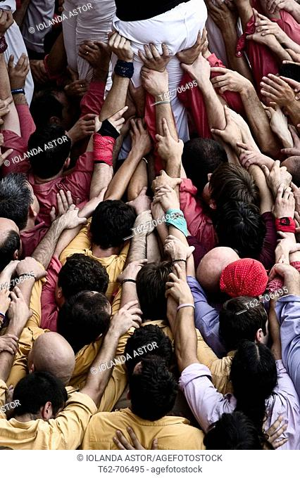 Castellers, building human towers, a catalan tradition. Barcelona, Catalunya, Spain