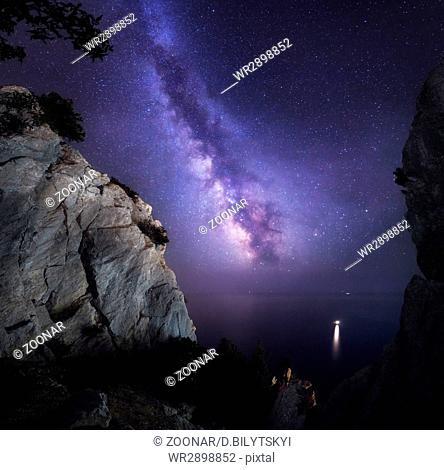 Beautiful colorful night landscape with Milky Way