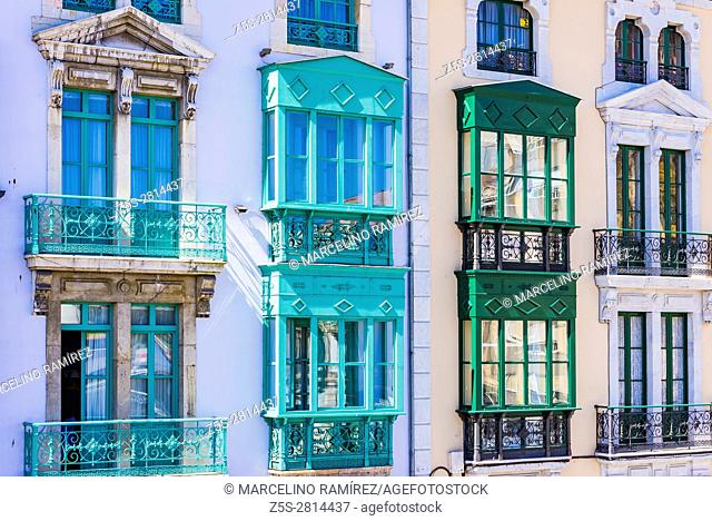 typical facade with balconies in the old town of Avilés. Avilés, Principality of Asturias, Spain, Europe