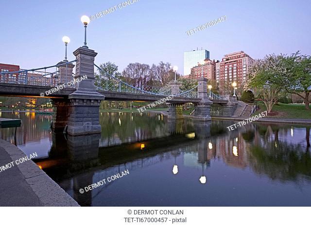 Massachusetts, Boston, Bridge in Boston Public Garden at dawn