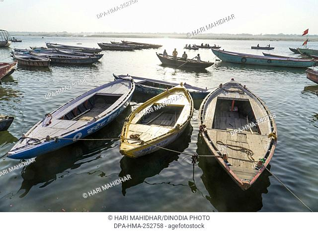 Boats in river, varanasi, uttar pradesh, india, asia