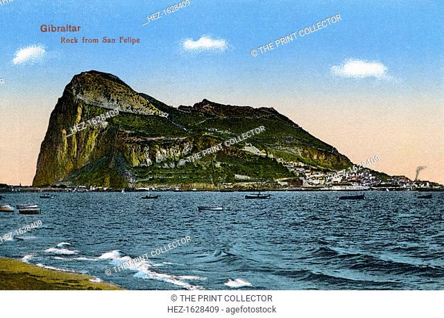 The Rock of Gibraltar, 1945. As seen from San Felipe. Published by VB Cumbo, Gibraltar