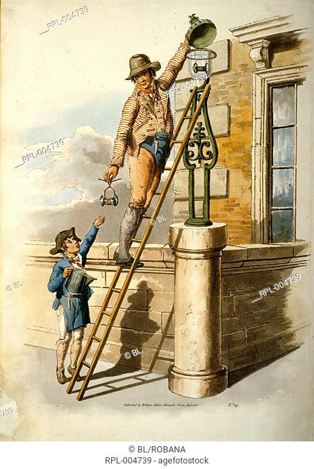 Two people changing street bulb. Image taken from The costume of Great Britain. Originally published/produced in London, 1808