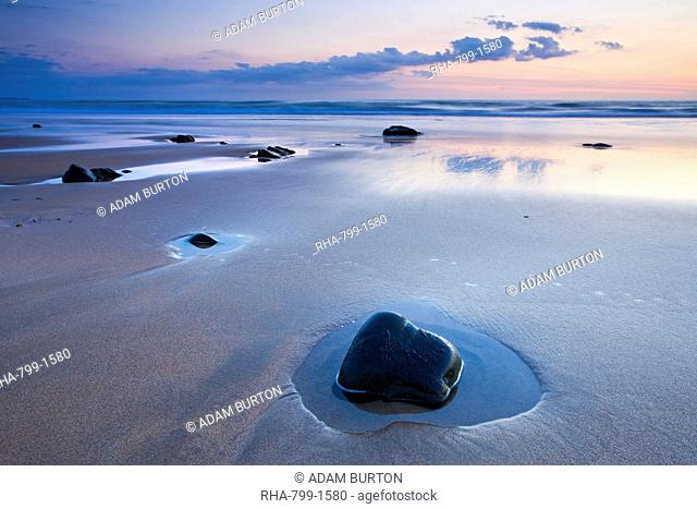 Twilight on the sandy beach at Sandymouth, North Cornwall, England, United Kingdom, Europe