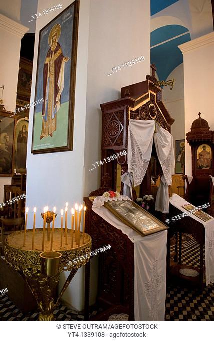 Interior of Aghios Nikolaos Church, Lakki village, Crete, Greece