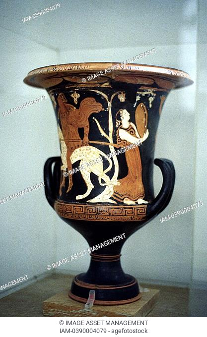 Greek female dancer with musical instrument similar to tambourine  From Red figure decoration on Ancient Greek vase, 5th century BC