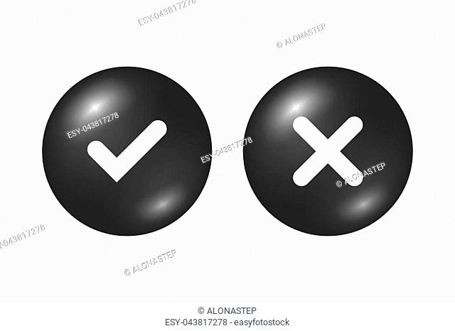 Tick and cross black signs. Gray checkmark OK and X icons, isolated on white background. Marks graphic design. Circle symbols YES and NO button for vote