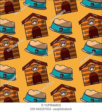 pet house and bowl food seamless pattern vector illustration