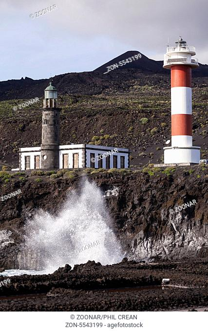 View over the Fuencaliente salt ponds to the lighthouse, La Palma, Canary Islands, Spain