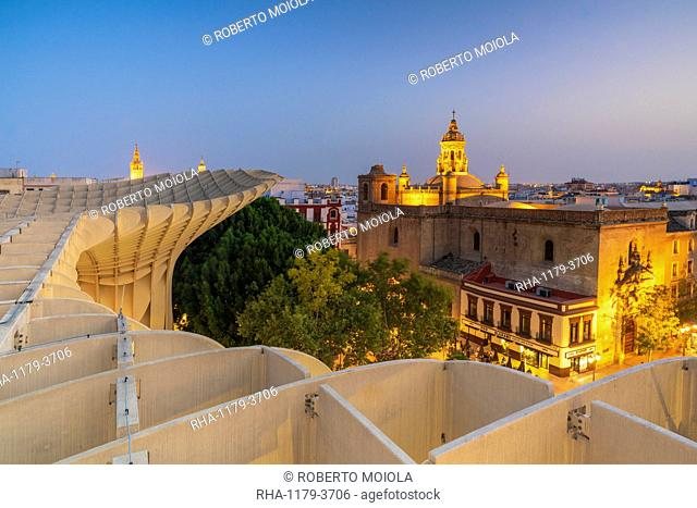 Illuminated Church of the Annunciation from rooftop of Metropol Parasol, Plaza de la Encarnacion, Seville, Andalusia, Spain, Europe