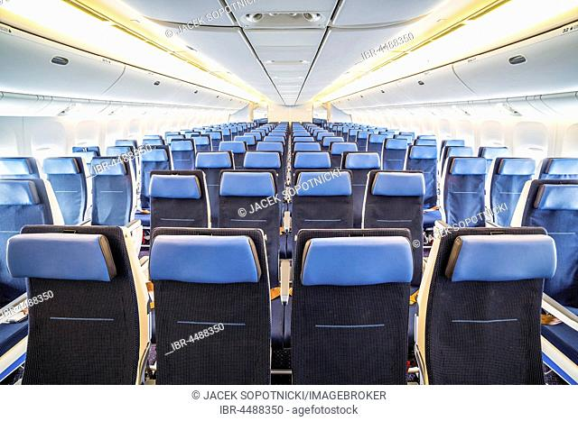 Interior of big airplane with seats